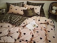 """Комплект постельного белья Бязь Gold """"Сердце клетка"""" 2-х спальный 180*215см"""