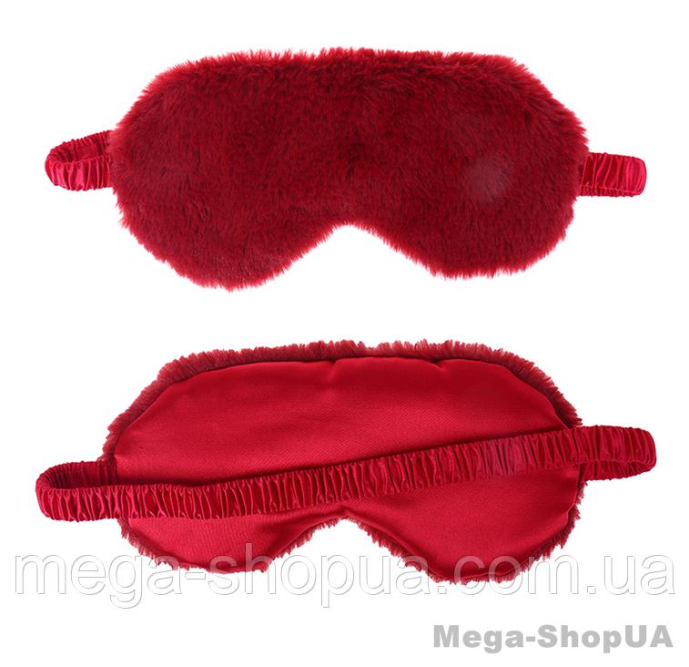 """Мягкая плюшевая маска для сна и отдыха """"Soft Plush Red"""". Повязка для сна и релакса. Маска для сну"""