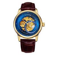 Красивые мужские часы оригинальные Winner 339 Gold-Blue-Brown