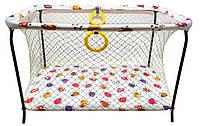 Манеж детский игровой KinderBox ПолуЛюкс с крупной сеткой Коровки. (kmp 1784)