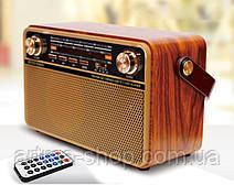 Радиоприемник Kemei Retro аккумуляторный с пультом, Bluetooth, Радио, Под темное дерево