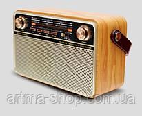 Радиоприемник Kemei Retro аккумуляторный с пультом, Bluetooth, Радио, Под светлое дерево