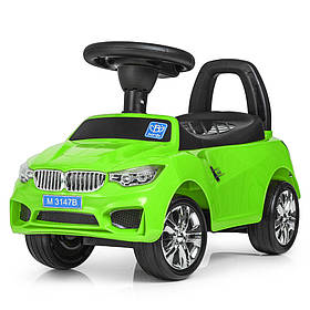 Каталка-толокар M 3147B муз,MP3,багаж.под сиден,на бат-ке,63,5-37-29см,зелен