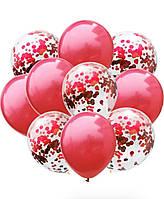 Набір кульок з конфеті червоний (10 шт. уп)