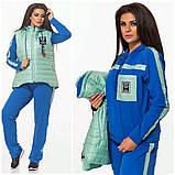 Женский трикотажный спортивный костюм тройка-4 цвета, Размеры:46-48,50-52,54-56, фото 2
