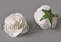 Голова белой розы из латекса 4,0см/1шт