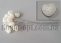 Бусинки-сердечки с пупырышками на проволоке 13х13мм/10шт 8879