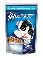 Пауч для кошек Felix, 100 г, с форелью и зелеными бобами 12230806