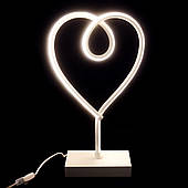 Светильник ночник Tomax Сердце неоновый от сети 220 В в белом корпусе, Белый свет
