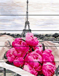 """Картина по номерам на дереве """"Пионы в Париже"""" GXT31855"""
