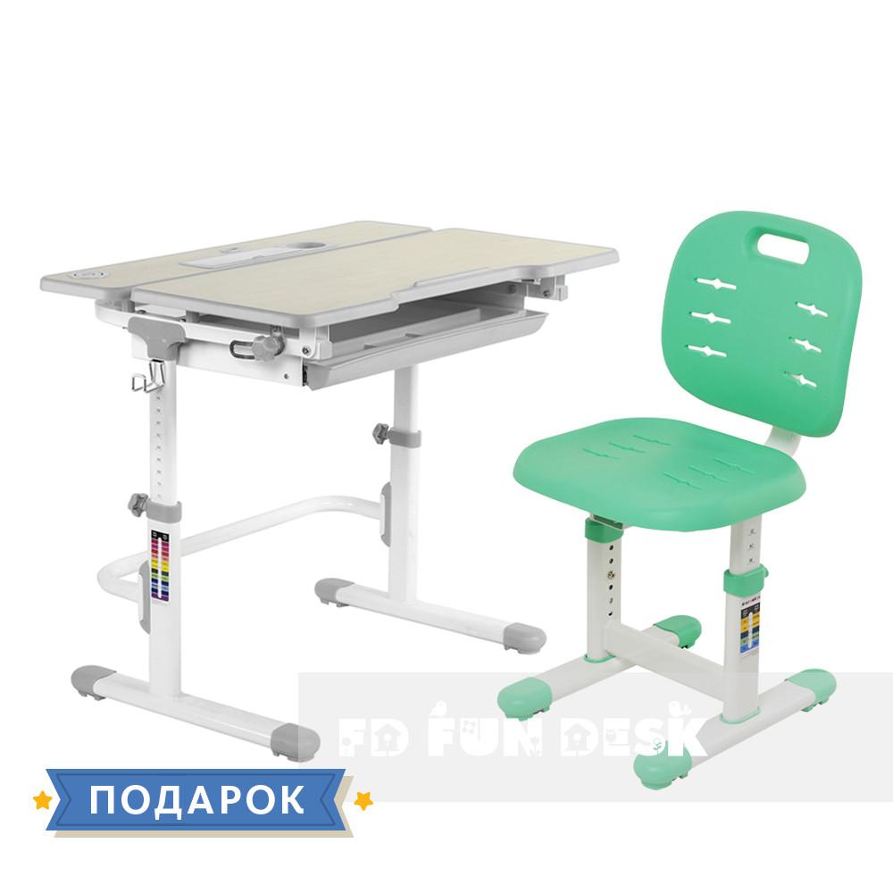 Комплект зростаюча парта для дома FunDesk Lavoro L Grey + дитячий стілець FunDesk SST2 Green