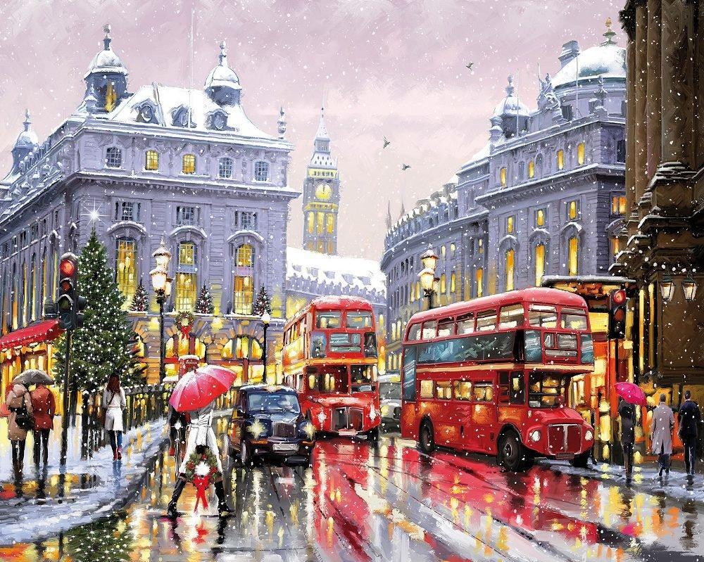 КДИ-0542 Набор алмазной вышивки Рождественский Лондон. Художник Richard Macneil
