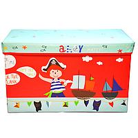 Детский разборный Пуф-корзина для хранения игрушек, настольных игр и аксессуаров, складной, красный 60х28х35см
