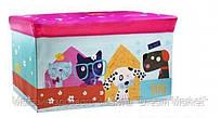 Детский разборный Пуф-корзина для хранения игрушек, настольных игр и аксессуаров, розовый-собачки 60х28х35см