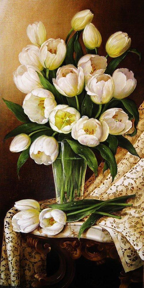 КДІ-0616 Набір алмазної вишивки Букет білих тюльпанів. Художник Dobel Elena