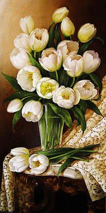 КДІ-0616 Набір алмазної вишивки Букет білих тюльпанів. Художник Dobel Elena, фото 2