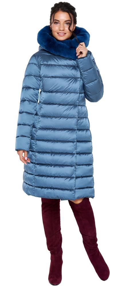Зимняя аквамариновая куртка женская модель 31094 (ОСТАЛСЯ ТОЛЬКО 50(L))