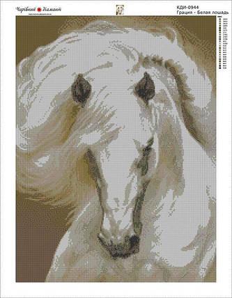 КДІ-0944 Набір алмазної вишивки Грація. Білий кінь, фото 2