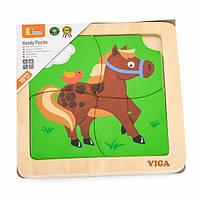 Дерев'яний міні-пазл Viga Toys Конячка, 4 ел. (51312)
