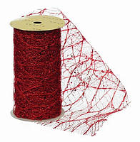 Лента декоративная 11,3 см, с красным узором, 5,м, органза