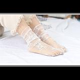 Напівпрозорі шкарпетки з квітковим мереживом, фото 4