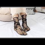 Напівпрозорі шкарпетки з квітковим мереживом, фото 6