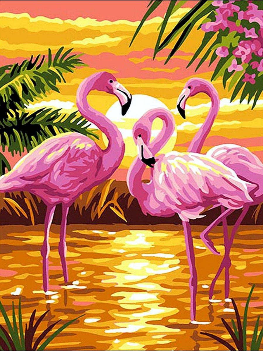 VK188 Раскраска по номерам Фламинго на закате