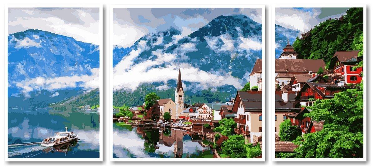 VPT050 Картина-раскраска по номерам Триптих. Летняя Австрия