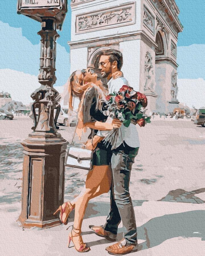 BK-GX37233 Картина-раскраска по номерам Любовь возле Триумфальной арки, Без коробки