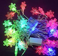 Эффектная led-гирлянда Снежинки, 28 светящихся декоративных элементов, мультицветная