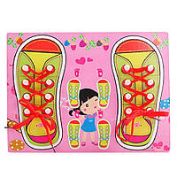 Деревянная игрушка Шнуровка M00956 (Розовая), деревянные игрушки,деревянные игрушки развивающие,интерактивная