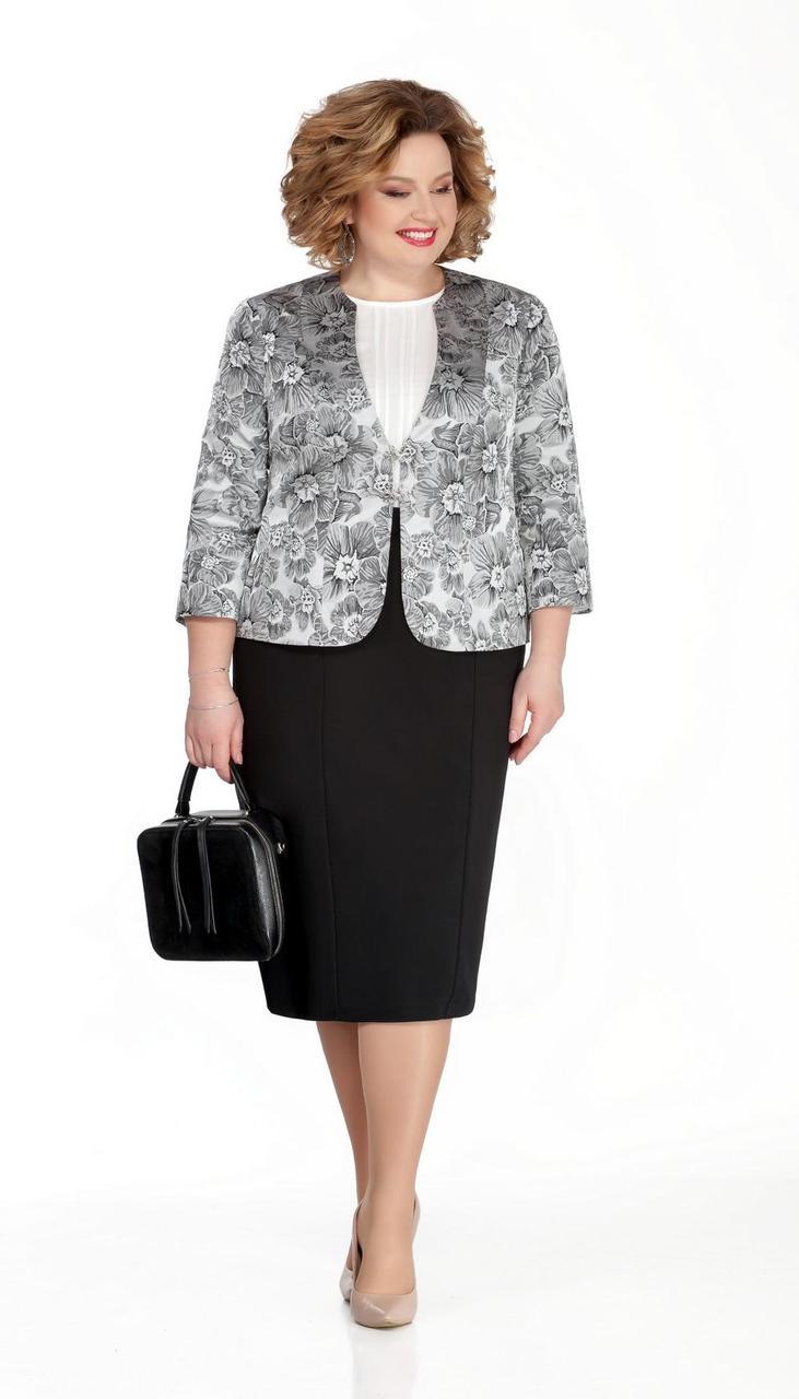 Костюм Pretty-1053 белорусский трикотаж, серый + черный, 56