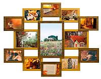Деревянная мультирамка на 13 фото Симметрия Розовый,Красное дерево,Золото с рельефом,Бежевый с рельефом