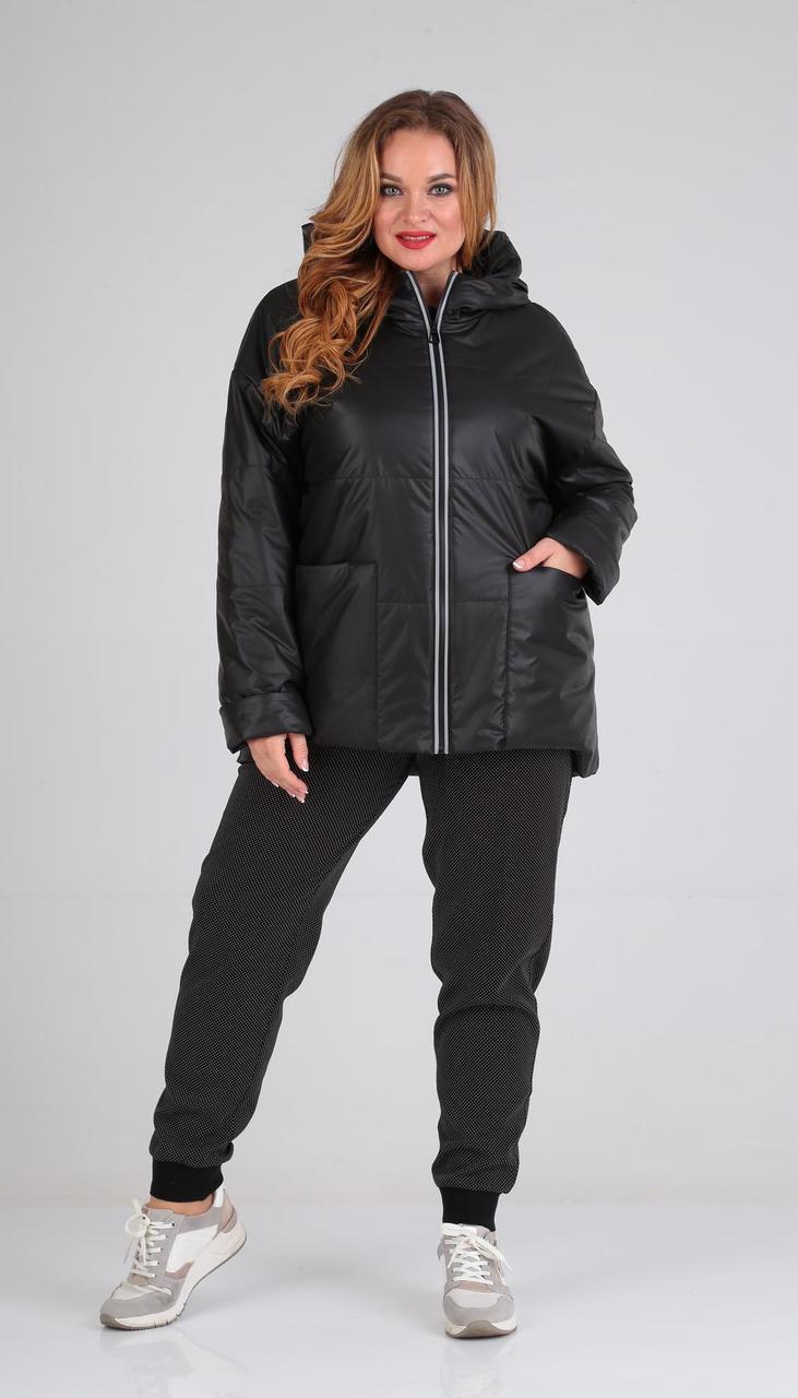 Куртка Диамант-1532/1 белорусский трикотаж, черный, 54