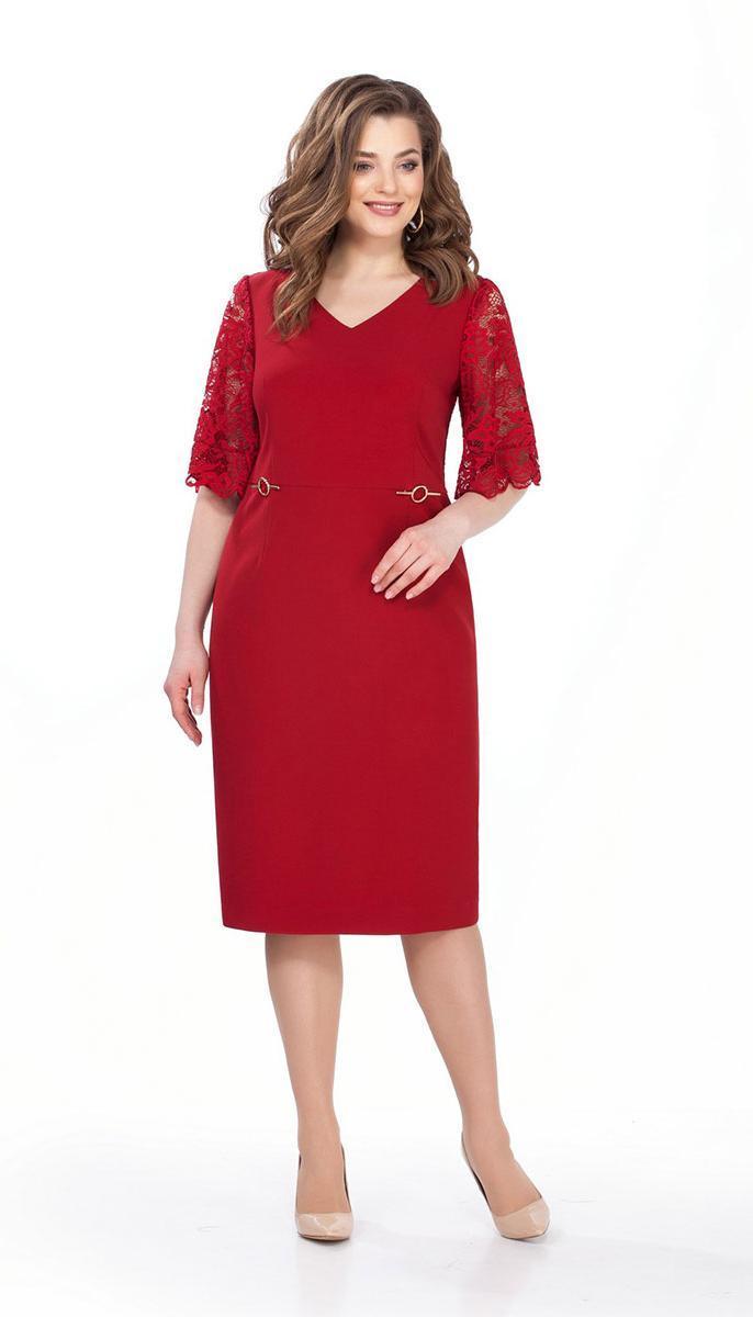 Платье TEZA-160 белорусский трикотаж, красный, 48