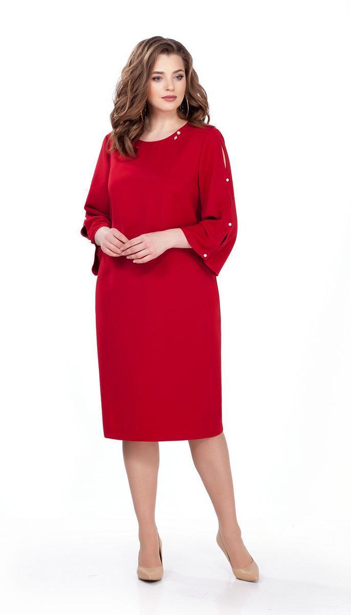 Платье TEZA-161 белорусский трикотаж, красный, 48