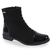 Модные женские ботинки (нубук, лак, черные , зимние, на шноровках, на замке