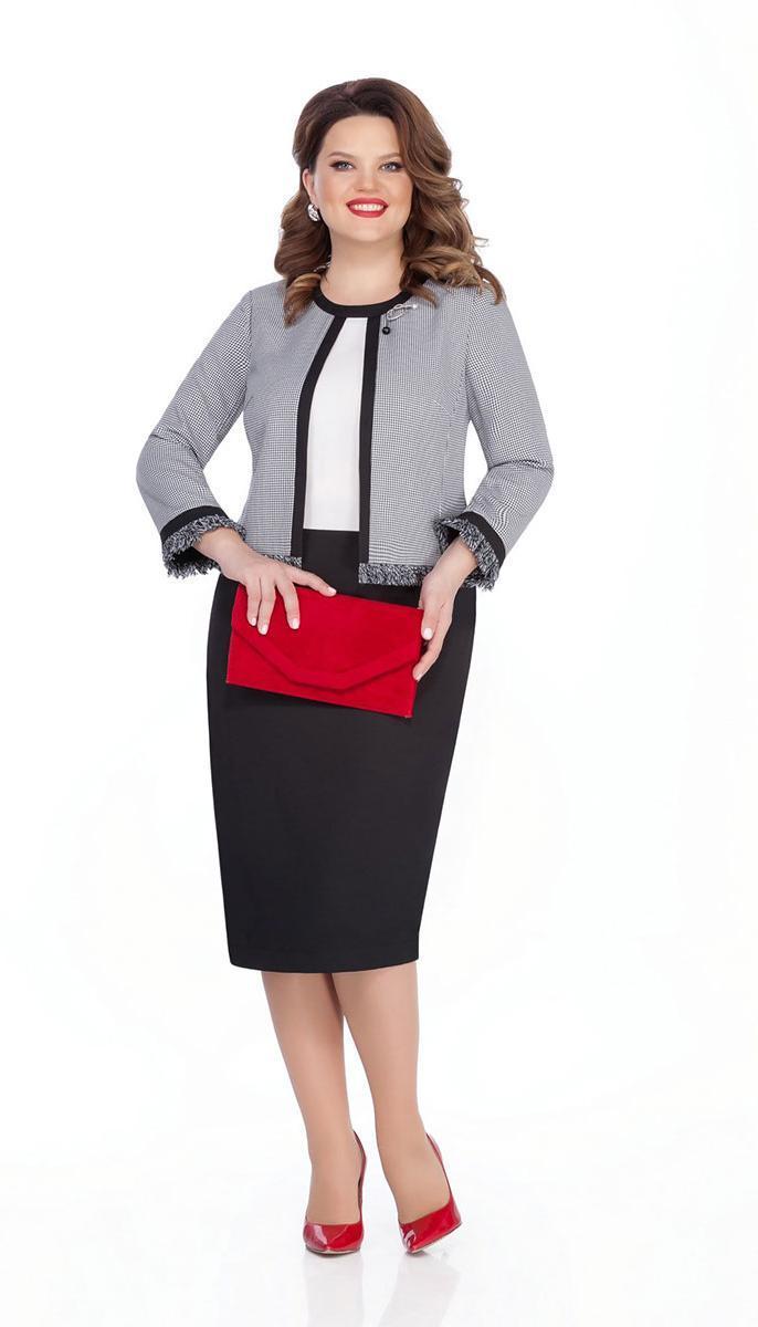 Платье TEZA-301 белорусский трикотаж, серый с черным, 50