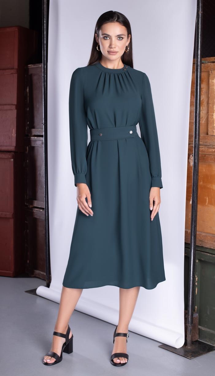 Платье Юрс-20-301-1 белорусский трикотаж, зеленый оттенок, 46