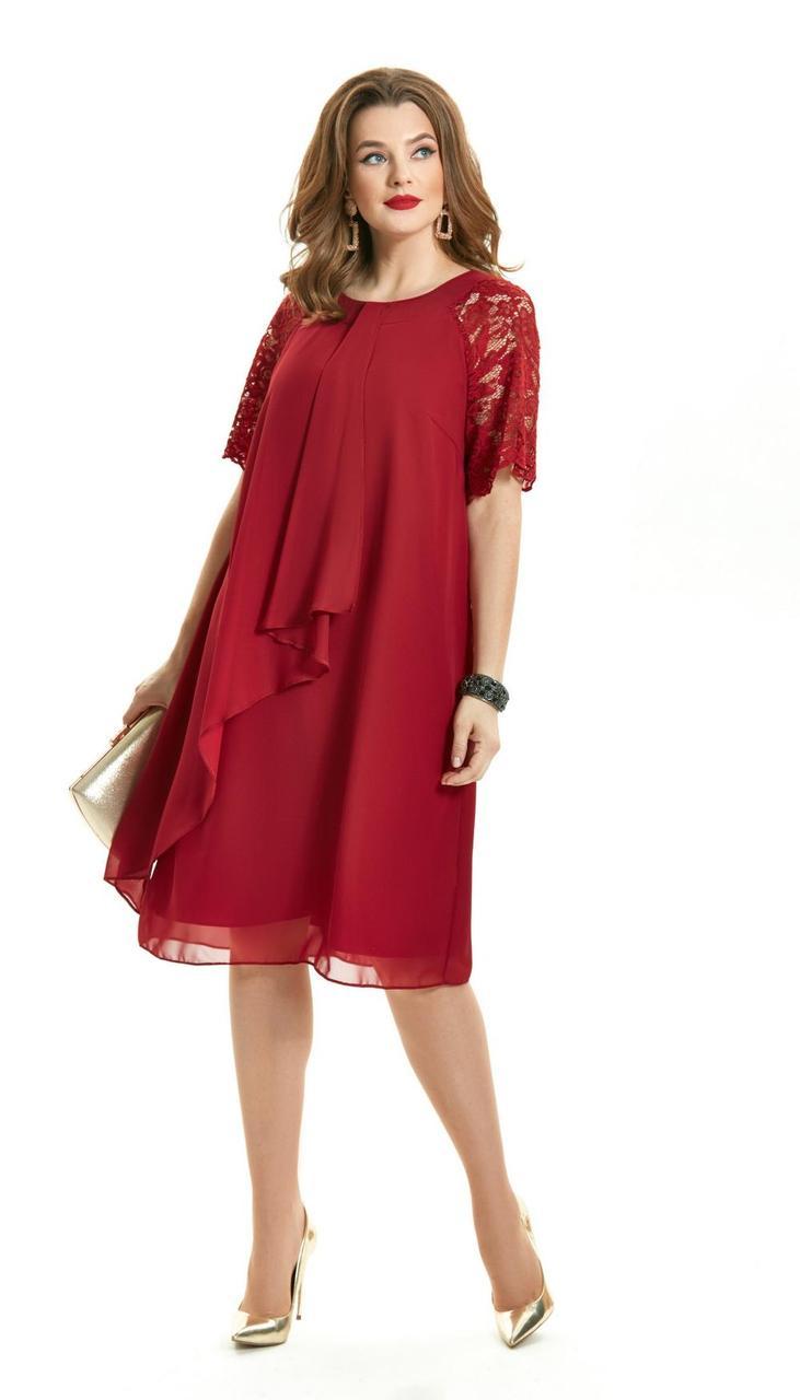 Платье TEZA-1554/1 белорусский трикотаж, бордовый, 50