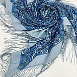 Мчить трійка 1896-12, павлопосадский хустку (шаль) з ущільненої вовни з шовковою бахромою в'язаній, фото 7