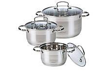 Набор посуды нержавеющий Maestro - 2 х 3 х 4 л, (3 шт.) MR-3520-6M