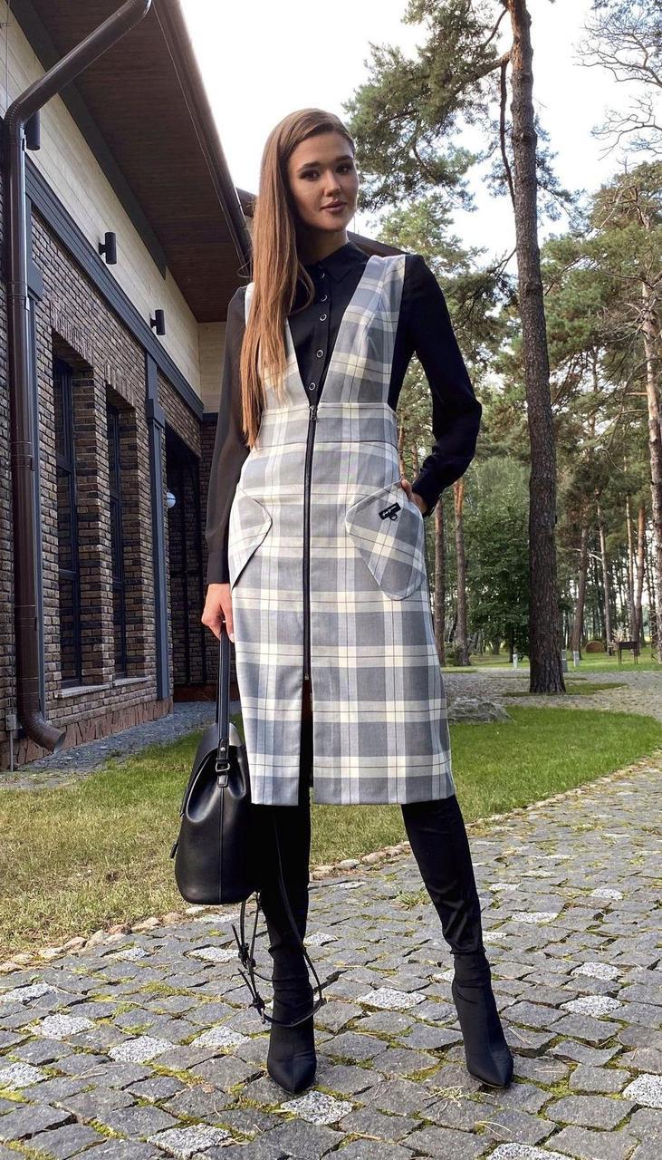 Костюм КаринаДелюкс-В-247 К белорусский трикотаж, чёрно-серый, 46