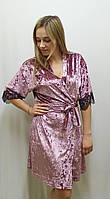 Велюровый  халат с французским кружевом 466