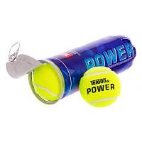 Тенісні м'ячі для великого тенісу Набір 3 шт TELOON Гума повсть Жовтий (T616P3)