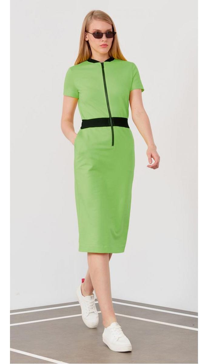 Платье Favorini-21585 белорусский трикотаж, салатовый, 42