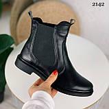 ТІЛЬКИ 40 р! Жіночі черевики ДЕМІ чорні з гумкою натуральна шкіра весна/ осінь, фото 2