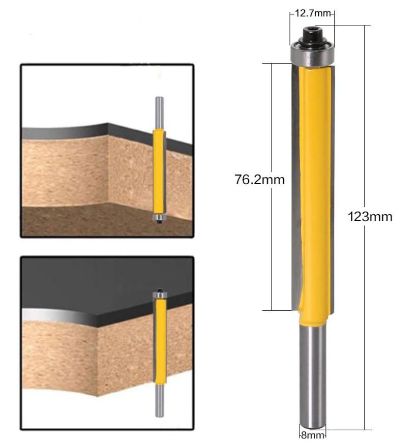 Фреза кінцева по дереву з підшипником хвостовик 8 мм довжина 123 мм