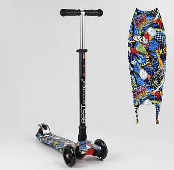 Самокат трехколесный с наклонным поворотом руля и светящимися колесами Самокат детский трехколесный Кикборд