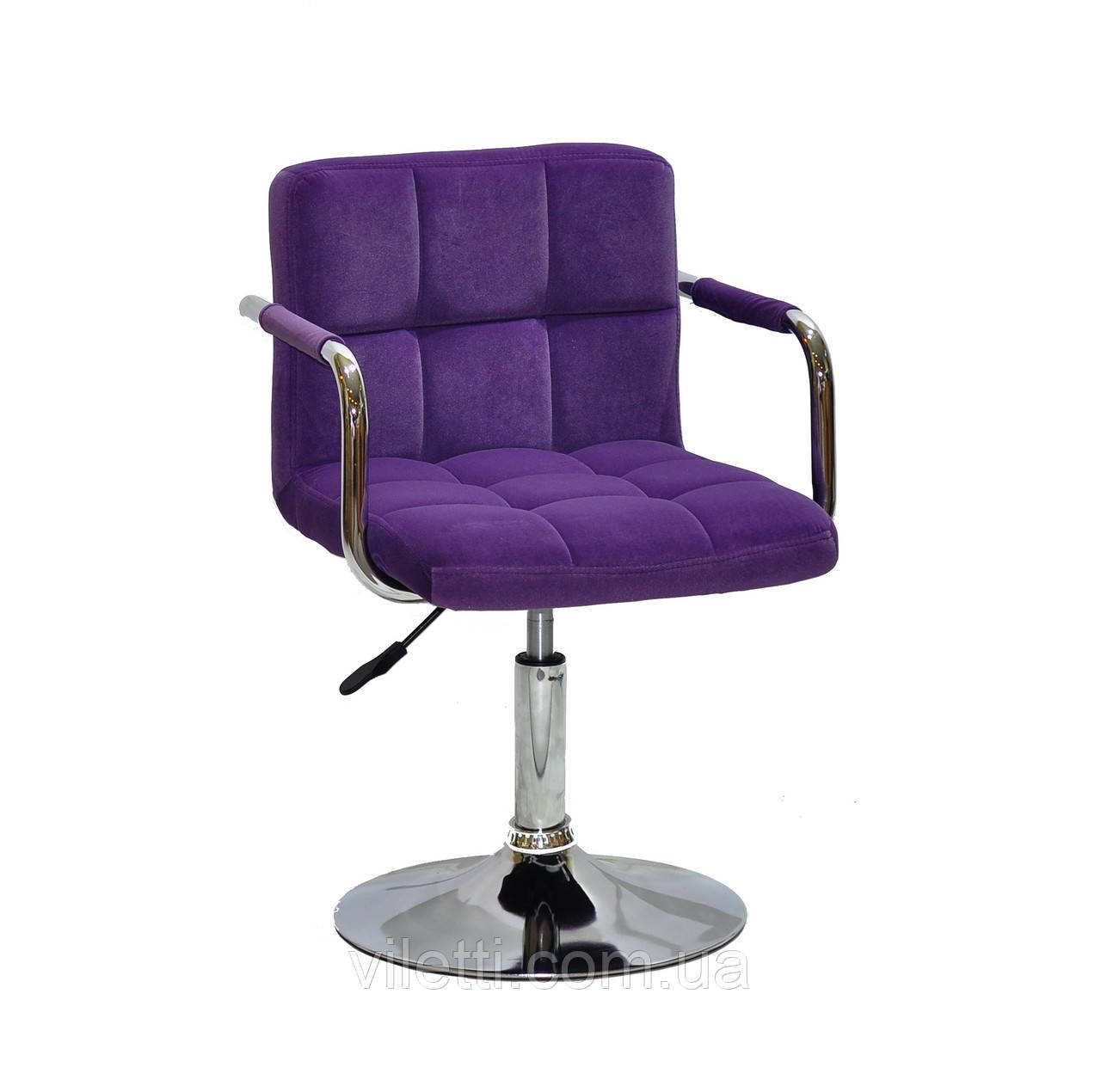 Пурпурное кресло в бархате с подлокотниками на блине поворотное Arno-Arm CH - Base для сферы услуг